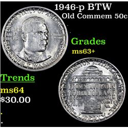 1946-p BTW Old Commem Half Dollar 50c Grades Select+ Unc