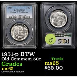 PCGS 1951-p BTW Old Commem Half Dollar 50c Graded ms65 By PCGS