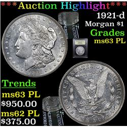 ***Auction Highlight*** 1921-d Morgan Dollar $1 Graded Select Unc PL By USCG (fc)