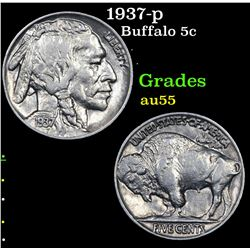 1937-p Buffalo Nickel 5c Grades Choice AU