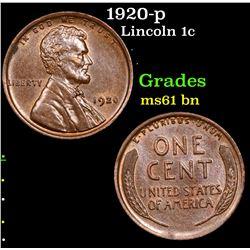1920-p Lincoln Cent 1c Grades Unc+ BN