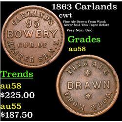 1863 Carlands Civil War Token 1c Grades Choice AU/BU Slider