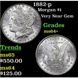 1882-p Morgan Dollar $1 Grades Choice+ Unc