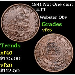 1841 Not One cent Hard Times Token 1c Grades vf+