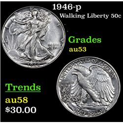 1946-p Walking Liberty Half Dollar 50c Grades Select AU