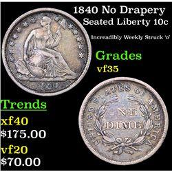 1840 No Drapery Seated Liberty Dime 10c Grades vf++