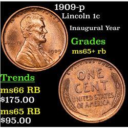 1909-p Lincoln Cent 1c Grades Gem+ Unc RB