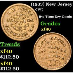 (1863) New Jersey Civil War Token 1c Grades xf