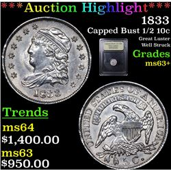 ***Auction Highlight*** 1833 Capped Bust Half Dime 1/2 10c Graded Select+ Unc By USCG (fc)