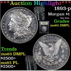 ***Auction Highlight*** 1893-p Morgan Dollar $1 Graded Select Unc DMPL By USCG (fc)