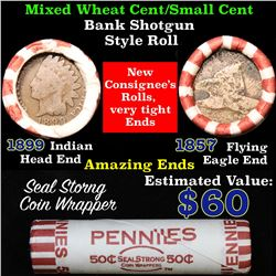 Mixed small cents 1c orig shotgun roll,1857 Flying Eagle Cent,1899 Indian Cent other end