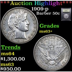 ***Auction Highlight*** 1909-p Barber Half Dollars 50c Graded Select+ Unc By USCG (fc)