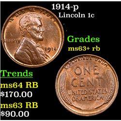 1914-p Lincoln Cent 1c Grades Select+ Unc RB