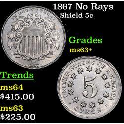 1867 No Rays Shield Nickel 5c Grades Select+ Unc