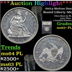 ***Auction Highlight*** 1842-p Medium Date Seated Half Dollar 50c Graded Select Unc+ PL By USCG (fc)