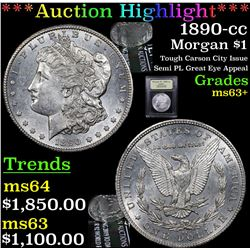 ***Auction Highlight*** 1890-cc Morgan Dollar $1 Graded Select+ Unc By USCG (fc)