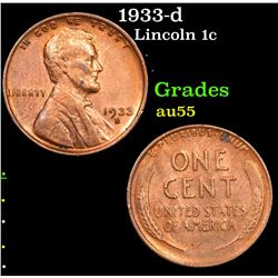 1933-d Lincoln Cent 1c Grades Choice AU