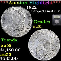 ***Auction Highlight*** 1822 Capped Bust Half Dollar 50c Graded Select AU By USCG (fc)