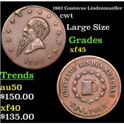 1863 Gustavus Lindenmueller Civil War Token 1c Grades xf+