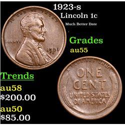 1923-s Lincoln Cent 1c Grades Choice AU