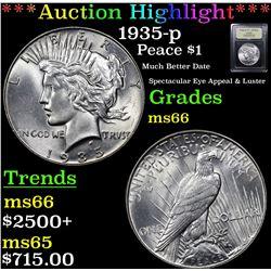 ***Auction Highlight*** 1935-p Peace Dollar $1 Graded GEM+ Unc By USCG (fc)