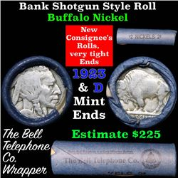 Buffalo Nickel Shotgun Roll in Old Bank Style 'Bell Telephone'  Wrapper 1923 & d Mint Ends