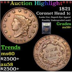 ***Auction Highlight*** 1821 Coronet Head Large Cent 1c Graded Choice AU/BU Slider+ By USCG (fc)