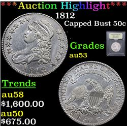 ***Auction Highlight*** 1812 Capped Bust Half Dollar 50c Graded Select AU By USCG (fc)