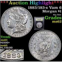 ***Auction Highlight*** 1883/183-s Vam 6 Morgan Dollar $1 Graded Select Unc By USCG (fc)
