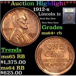 ***Auction Highlight*** 1912-s Lincoln Cent 1c Graded Choice+ Unc RB By USCG (fc)