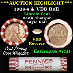 ***Auction Highlight*** Lincoln Wheat cent 1c orig roll, 1909-s one end, VDB rev other end, WOW! (fc