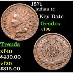 1871 Indian Cent 1c Grades vf++