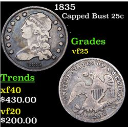1835 Capped Bust Quarter 25c Grades vf+