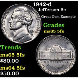 1942-d Jefferson Nickel 5c Grades GEM 5fs
