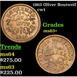 1863 Oliver Boutwell Civil War Token 1c Grades Select+ Unc