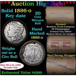***Auction Highlight*** Full solid Key date 1896-o Morgan silver dollar roll, 20 coins (fc)