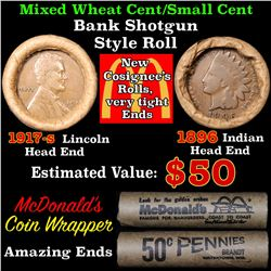 Mixed small cents 1c orig shotgun roll, 1917-s Wheat Cent, 1896 Indian Cent other end