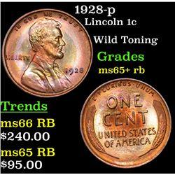 1928-p Lincoln Cent 1c Grades Gem+ Unc RB