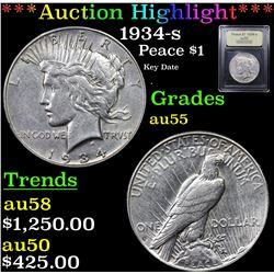 ***Auction Highlight*** 1934-s Peace Dollar $1 Graded Choice AU By USCG (fc)