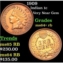 1909 Indian Cent 1c Grades Choice+ Unc RB