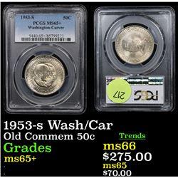 PCGS 1953-s Wash/Car Old Commem Half Dollar 50c Graded ms65+ By PCGS