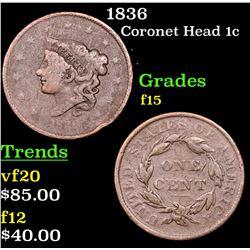 1836 Coronet Head Large Cent 1c Grades f+