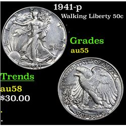 1941-p Walking Liberty Half Dollar 50c Grades Choice AU