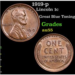 1919-p Lincoln Cent 1c Grades Choice AU