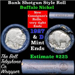 Buffalo Nickel Shotgun Roll in Old Bank Style 'Bell Telephone'  Wrapper 1927 & d Mint Ends