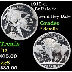 1919-d Buffalo Nickel 5c Grades f details