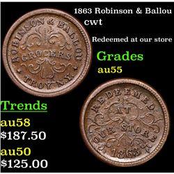 1863 Robinson & Ballou Civil War Token 1c Grades Choice AU