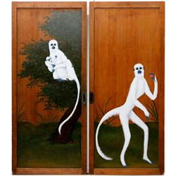 Pair of Japanese wooden doors with painted lemurs.
