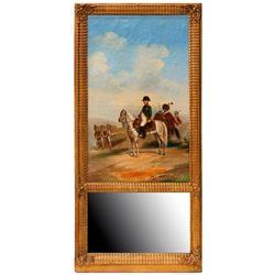 19th century trumeau mirror with Napoleon.