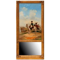 19th century trumeau mirror with Napoleon.